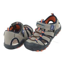 Sandałki chłopięce American Club DR04/20 granatowe pomarańczowe szare 3