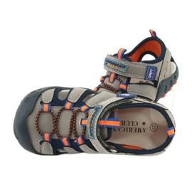 Sandałki chłopięce American Club DR04/20 granatowe pomarańczowe szare 5