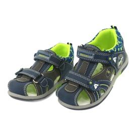 Sandałki chłopięce rzep American Club DR09/20 granatowe niebieskie szare zielone 1