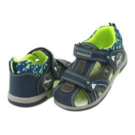 Sandałki chłopięce rzep American Club DR09/20 granatowe niebieskie szare zielone 2