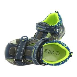 Sandałki chłopięce rzep American Club DR09/20 granatowe niebieskie szare zielone 4