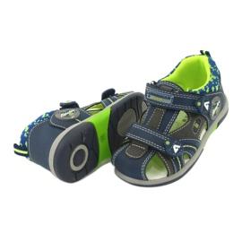 Sandałki chłopięce rzep American Club DR09/20 granatowe niebieskie szare zielone 3