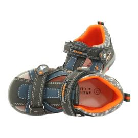 Sandałki chłopięce rzep American Club DR09/20 niebieskie pomarańczowe szare 4