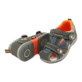 Sandałki chłopięce rzep American Club DR09/20 niebieskie pomarańczowe szare 3