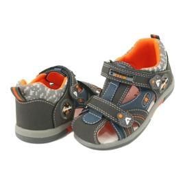 Sandałki chłopięce rzep American Club DR09/20 niebieskie pomarańczowe szare 2