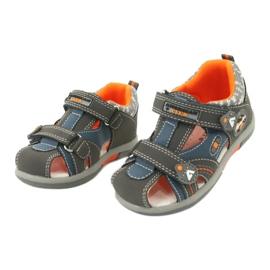 Sandałki chłopięce rzep American Club DR09/20 niebieskie pomarańczowe szare 1