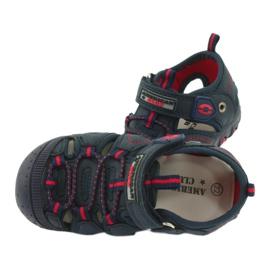 Sandałki chłopięce rzep American Club DR08/20 czerwone granatowe 4
