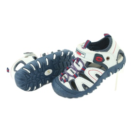 Sandałki chłopięce rzep American Club DR08/20 białe czerwone niebieskie 3