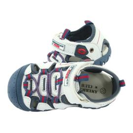Sandałki chłopięce rzep American Club DR08/20 białe czerwone niebieskie 4