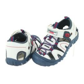 Sandałki chłopięce rzep American Club DR08/20 białe czerwone niebieskie 2