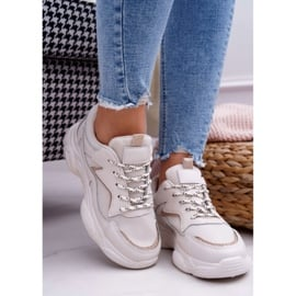 BUGO Sportowe Damskie Buty Beżowe Brokat Winchester beżowy 3