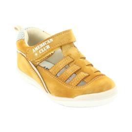 Sandałki chłopięce rzep American Club GC12/20 wielokolorowe żółte 1