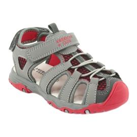 Sandałki wkładka skóra American Club XD06/20 szare czerwone 1
