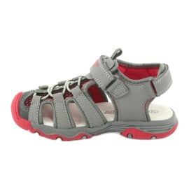 Sandałki wkładka skóra American Club XD06/20 szare czerwone 2