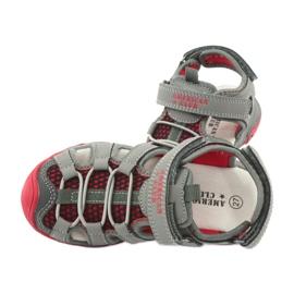 Sandałki wkładka skóra American Club XD06/20 szare czerwone 5