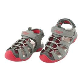 Sandałki wkładka skóra American Club XD06/20 szare czerwone 3