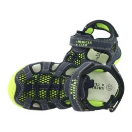 Sandałki wkładka skóra American Club XD06/20 granatowe zielone 4