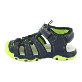 Sandałki wkładka skóra American Club XD06/20 granatowe zielone 1
