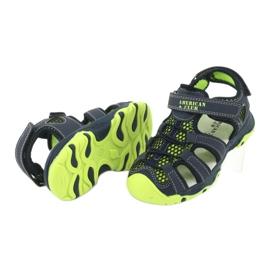 Sandałki wkładka skóra American Club XD06/20 granatowe zielone 3