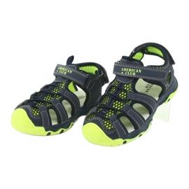 Sandałki wkładka skóra American Club XD06/20 granatowe zielone 2
