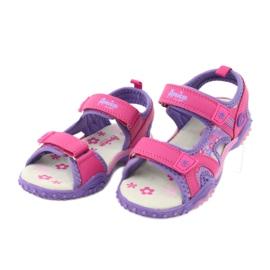 Sandałki dziewczęce łączka American Club HL17/19 fioletowe różowe 2