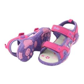 Sandałki dziewczęce łączka American Club HL17/19 fioletowe różowe 3