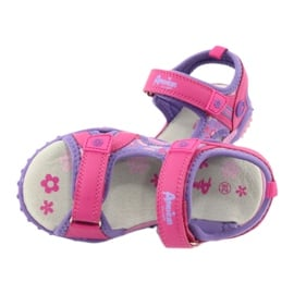 Sandałki dziewczęce łączka American Club HL17/19 fioletowe różowe 4