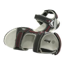 Sandałki chłopięce sportowe American Club RL19/19 czarne czerwone 4