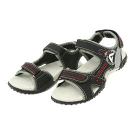 Sandałki chłopięce sportowe American Club RL19/19 czarne czerwone 2