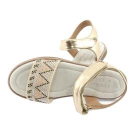 Sandałki dziewczęce metaliczne American Club GC07/20 czarne szare żółte 3