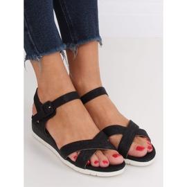 Sandałki na niskim koturnie czarne NS115P Black 3