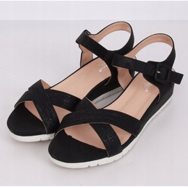 Sandałki na niskim koturnie czarne NS115P Black 1