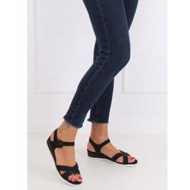 Sandałki na niskim koturnie czarne NS115P Black 2