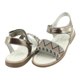 Sandałki dziewczęce metaliczne American Club GC07/20 wielokolorowe szare żółte 3