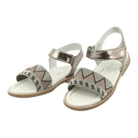 Sandałki dziewczęce metaliczne American Club GC07/20 wielokolorowe szare żółte 2