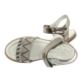 Sandałki dziewczęce metaliczne American Club GC07/20 wielokolorowe szare żółte 4