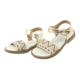 Sandałki dziewczęce metaliczne American Club GC08/20 złoty 3