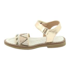 Sandałki dziewczęce metaliczne American Club GC08/20 złoty 2