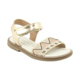 Sandałki dziewczęce metaliczne American Club GC08/20 złoty 1