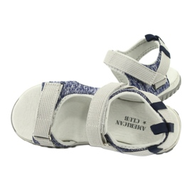 Sandałki z wkładką skórzaną American Club RL25/20 granatowe szare 4