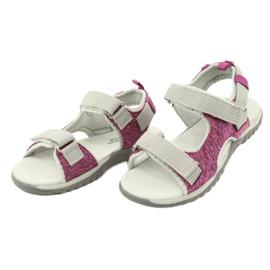Sandałki z wkładką skórzaną American Club RL25/20 różowe szare 2