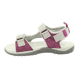Sandałki z wkładką skórzaną American Club RL25/20 różowe szare 1