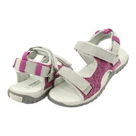 Sandałki z wkładką skórzaną American Club RL25/20 różowe szare 3