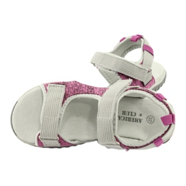 Sandałki z wkładką skórzaną American Club RL25/20 różowe szare 4
