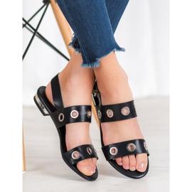 Kylie Casualowe Czarne Sandały 4