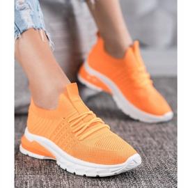Bella Paris Ażurowe Sneakersy pomarańczowe 5