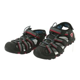 American Club Buty dziecięce sandałki z wkładką piankową American DR01/20 czarne czerwone szare 2