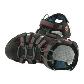 American Club Buty dziecięce sandałki z wkładką piankową American DR01/20 czarne czerwone szare 4