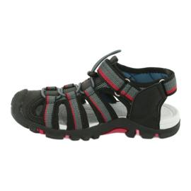 American Club Buty dziecięce sandałki z wkładką piankową American DR01/20 czarne czerwone szare 1
