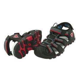 American Club Buty dziecięce sandałki z wkładką piankową American DR01/20 czarne czerwone szare 3
